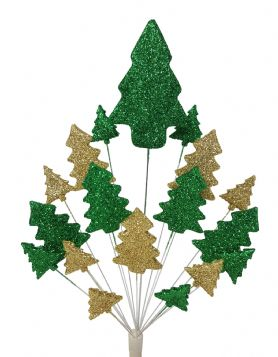 Christmas trees cake topper decoration in emerald and gold - free postage